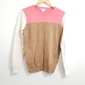 Old Navy Color Block Brown Pink Cream Sweater